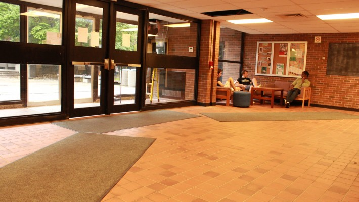 students sitting on Winters Residence lobby