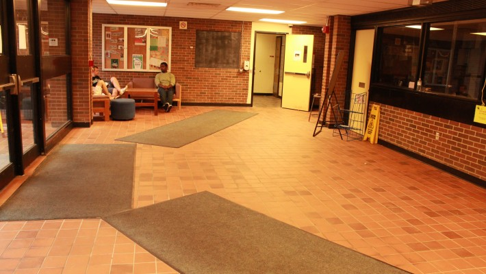 students stting on Winters Residence lobby