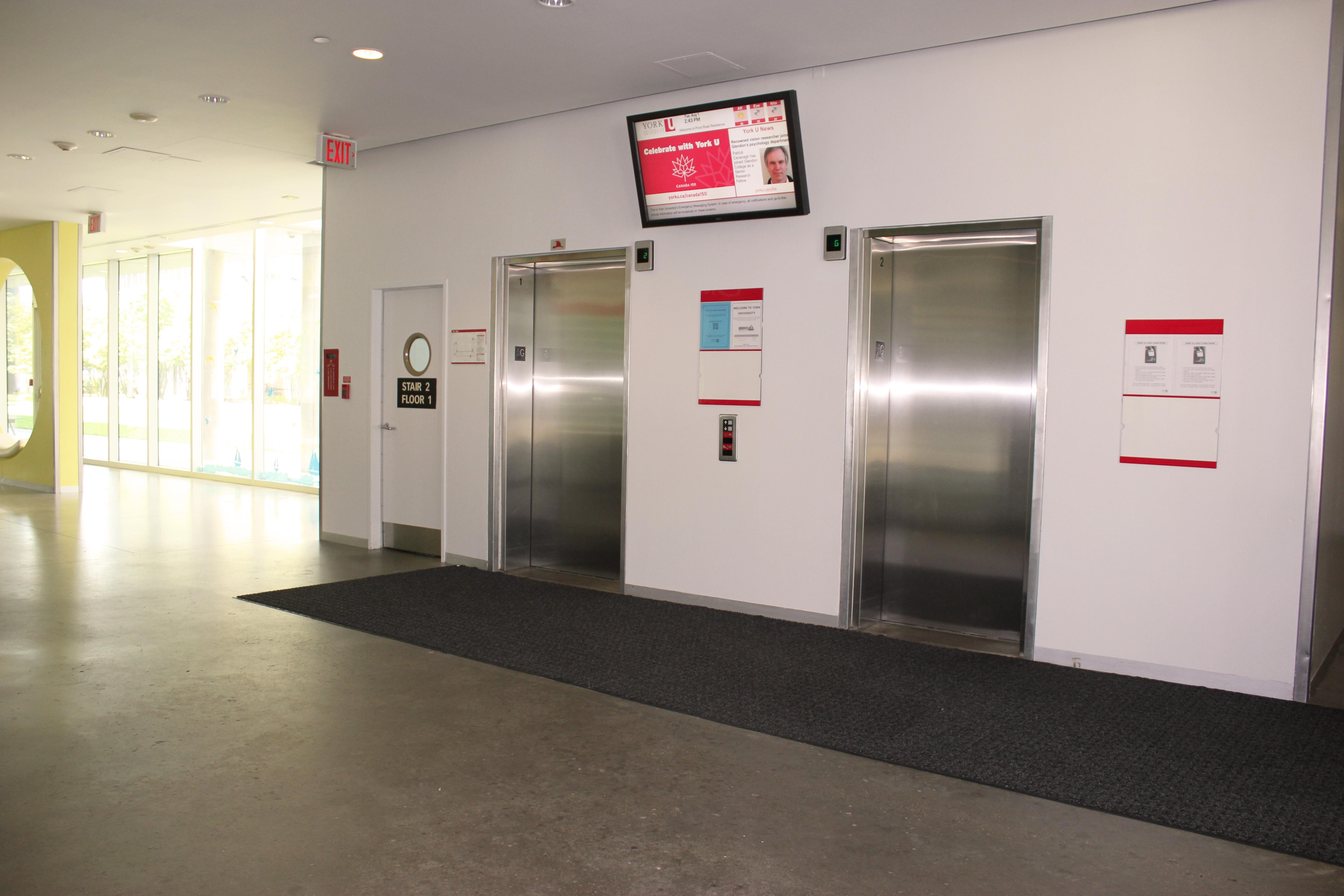 Pond interior, elevators